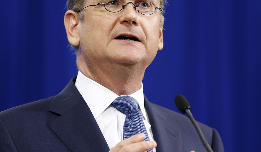 Lawrence Lessig, Democratic presidential candidate and Harvard law professor, speaks at the New Hampshire Democratic Convention in Manchester on Sept. 19, 2015. (Associated Press) **FILE**