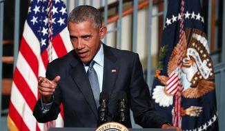 President Barack Obama speaks during a visit to the Newark campus of Rutgers University, Monday, Nov. 2, 2015, in Newark, N.J. (AP Photo/Julio Cortez) ** FILE **