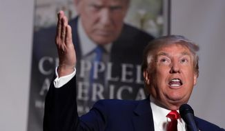 Republican presidential candidate Donald Trump during a news conference at Trump Tower in New York, Tuesday, took swipes at his GOP rivals, and advised those with less than 2 percent of the vote to bow out of the primaries. (Associated Press)