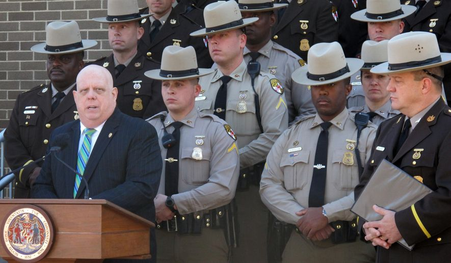Maryland Gov. Larry Hogan announces the reopening of a state police barrack in Annapolis on Nov. 3, 2015. (Associated Press) **FILE**