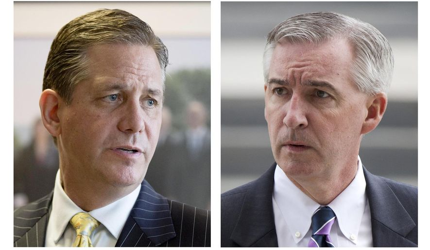 FILE - This 2015 combination of file photos shows, Montgomery County officials, commissioner Bruce L. Castor Jr., left, and first assistant district attorney, Kevin Steele, in Norristown, Pa. Castor, a Republican and Steele, a Democrat, are running for Montgomery County District Attorney in the Tuesday Nov. 3, election. The race for county prosecutor outside Philadelphia will likely influence whether Bill Cosby continues to be the subject of an investigation in an alleged 2004 sexual assault. (AP Photo/Matt Rourke, File)