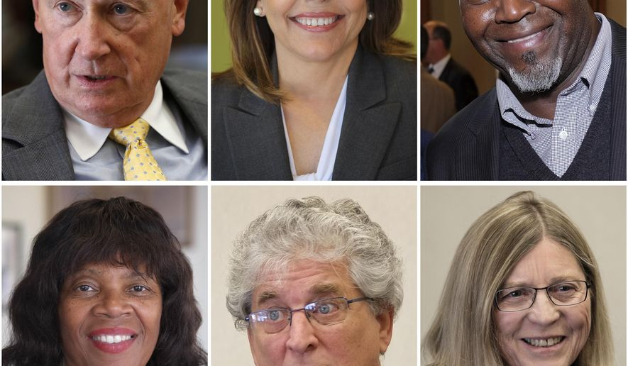 In this combination of six photos, Toledo mayoral candidates, from left, Carty Finkbeiner, Sandy Spang, Mike Bell, Paula Hicks-Hudson, Mike Ferner, and Sandy Drabik Collins are pictured in Toledo, Ohio. Toledo votes on Nov. 3. (The Blade via AP)MANDATORY CREDIT; MAGS OUT; NO SALES; TV OUT; SENTINEL-TRIBUNE OUT; MONROE EVENING NEWS OUT; TOLEDO FREE PRESS OUT
