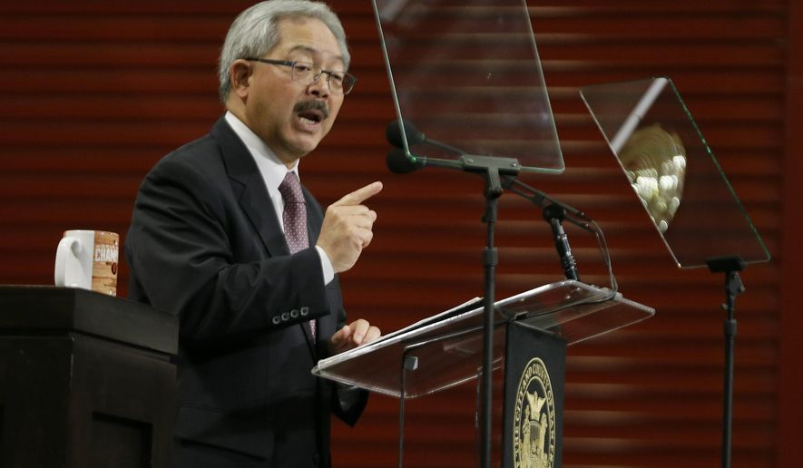 File - In this Jan. 15, 2015 file photo, San Francisco Mayor Ed Lee gestures while delivering his State of the City address at a new facility of the Wholesale Produce Market in San Francisco. Lee, who has presided over a tech-driven development boom in San Francisco, faces re-election Tuesday, Nov. 3, 2015. (AP Photo/Eric Risberg, file)