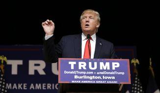 Republican presidential candidate Donald Trump speaks during a campaign stop at the Burlington Memorial Auditorium in Burlington, Iowa, in this Oct. 21, 2015, file photo. (AP Photo/Charlie Neibergall, File)