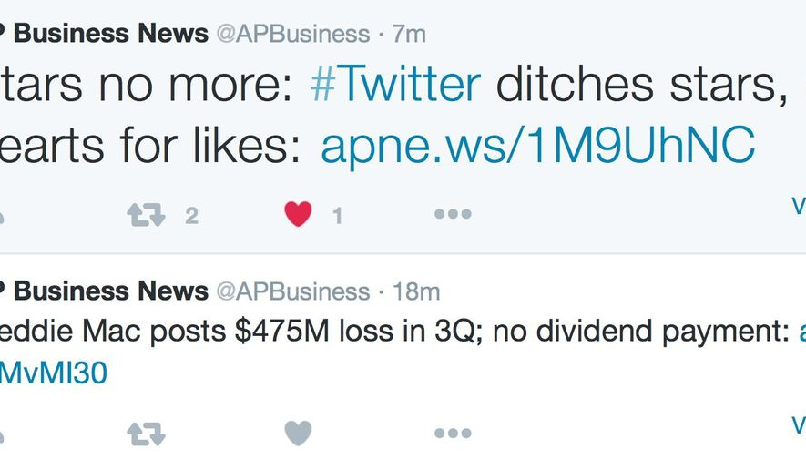 "This screen shot made Tuesday, Nov. 3, 2015 shows tweets on the AP Business News Twitter feed, featuring heart icons that, when clicked, means that a reader ""likes"" a tweet. Twitter said Tuesday it replaced the star icon, which signified a ""favorite"" tweet, with the heart because the star can be confusing to new users and the heart is more universally known around the globe. (AP Photo)"