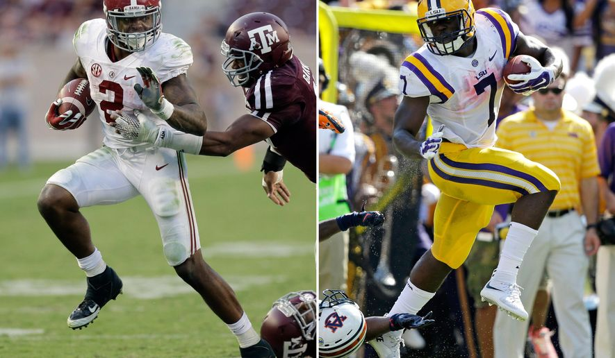 FILE - At left, in an Oct. 17, 2015, file photo, Alabama running back Derrick Henry (2) is chased by Texas A&M 's Myles Garrett  during the second half of an NCAA college football game in College Station, Texas. At right, in a Sept. 19, 2015, file photo, LSU running back Leonard Fournette (7)  runs past Auburn defensive back Blake Countess (24) on a touchdown run in the first half of an NCAA college football game in Baton Rouge, La. Perhaps out of respect _ if not reverence _ teammates of LSU's Leonard Fournette and Alabama's Derrick Henry seem to resist comparing the two running backs. Regardless, the similarities and differences of two of the nation's most powerful runners will come into focus when they lead their Top 10 teams onto the same field on Saturday night. (AP Photo/File)