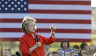 Democratic presidential candidate Hillary Rodham Clinton speaks during a town hall meeting Tuesday, Nov. 3, 2015, in Coralville, Iowa. (AP Photo/Charlie Neibergall)