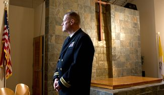 "Lt. Cmdr. Wesley J. ""Wes"" Modder, a Navy chaplain, is shown at his chapel at his new duty station in San Diego. (Earnie Grafton/Special to The Washington Times)"