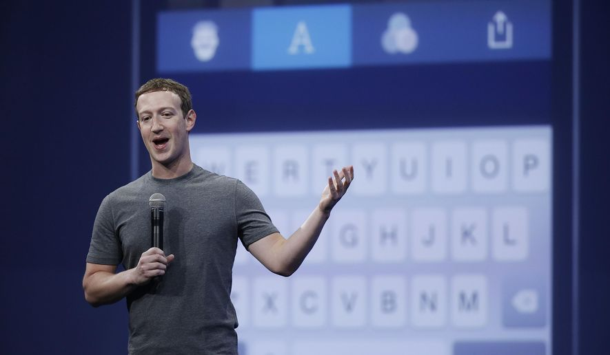 In this March 25, 2015, photo, Mark Zuckerberg talks about the Messenger app during the Facebook F8 Developer Conference in San Francisco. Facebook reports quarterly financial results on Wednesday, Nov. 4, 2015. (AP Photo/Eric Risberg, File)