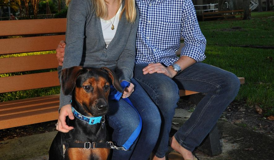 ADVANCE FOR THE WEEKEND OF NOV. 14-15 AND THEREAFTER - In a Thursday Oct. 29, 2015 photo, Todd Blake and his wife Maja pose for a photo with their one-year-old dog Louie near their Ponte Vedra Beach home. Just over a year ago Todd Blake had accepted that he would die from stage IV Hodgkin's lymphoma. Despite the diagnosis he had still gone to college, gotten married, got a puppy, and started a foundation called Live For Today, for young adults with cancer.  After trying a new experimental drug he was just diagnosed as being free from cancer.  (AP Photo/The Florida Times-Union, Bob Mack)