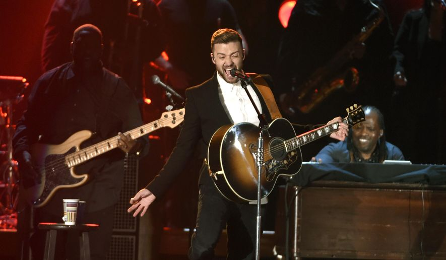Justin Timberlake performs at the 49th annual CMA Awards at the Bridgestone Arena on Wednesday, Nov. 4, 2015, in Nashville, Tenn. (Photo by Chris Pizzello/Invision/AP)