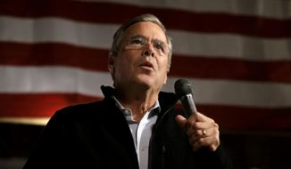 Republican presidential candidate, former Florida Gov. Jeb Bush, addresses an audience at a campaign event held in a barn belonging to former Sen. Scott Brown, R-Mass., Tuesday, Nov. 3, 2015, in Rye, N.H. (AP Photo/Steven Senne)