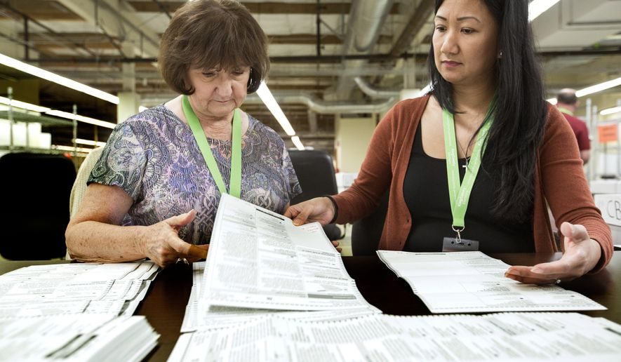 Election workers, including Sharon Welsh, left, and Leslie Simon sort through ballots at the King County Elections Office on election day Tuesday, Nov. 3, 2015, in Renton, Wash. (Mike Siegel/The Seattle Times via AP) SEATTLE OUT; USA TODAY OUT; ONLINE OUT; MAGS OUT; TELEVISION OUT; NO SALES; MANDATORY CREDIT TO BOTH THE SEATTLE TIMES AND THE PHOTOGRAPHER