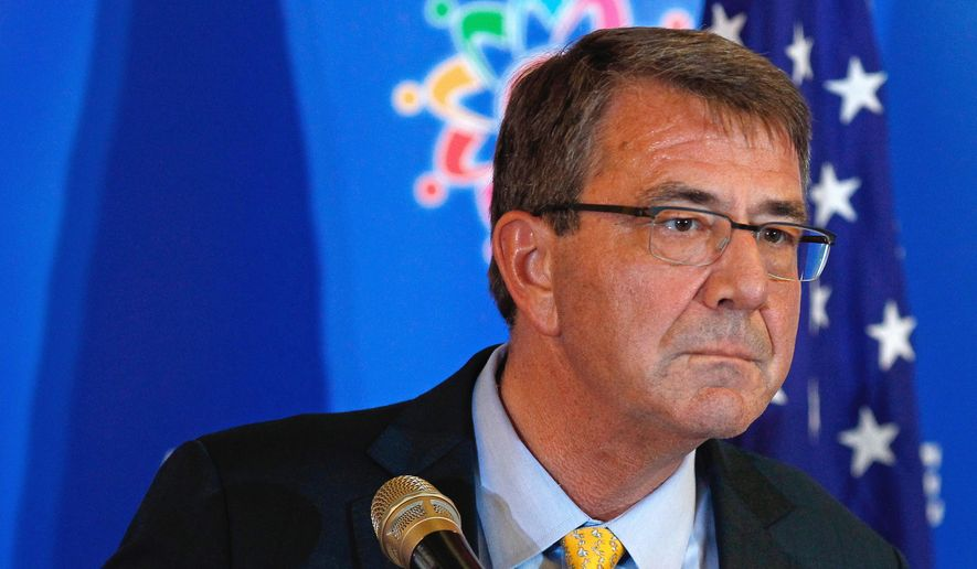 Defense Secretary Ashton Carter listens to a question during a news conference after the Association of Southeast Asian Nations (ASEAN) Defense Ministers' Meeting Plus in Kuala Lumpur, Malaysia, Wednesday, Nov. 4, 2015. (AP Photo/Lai Seng Sin) ** FILE **