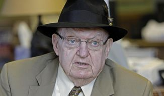 Rep. Howard Coble, North Carolina Republican, wears his Coast Guard pin as he visits the Denton Orator in Denton, N.C., on March 31, 2010. (Associated Press) **FILE**