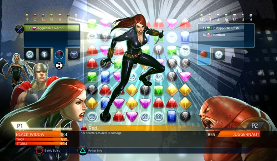 Black Widow attacks Juggernaut in the gem matching video game Marvel Puzzle Quest: Dark Reign for the PlayStation 4.