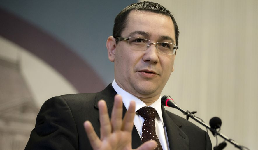 Romanian Prime Minister Victor Ponta speaks during a press conference in Bucharest, Romania, in this Feb. 11, 2013, file photo. Ponta announced the resignation of his government Wednesday, Nov. 4, 2015, following huge protests in the wake of a nightclub fire that killed more than 30 people. (AP Photo/Vadim Ghirda, File)