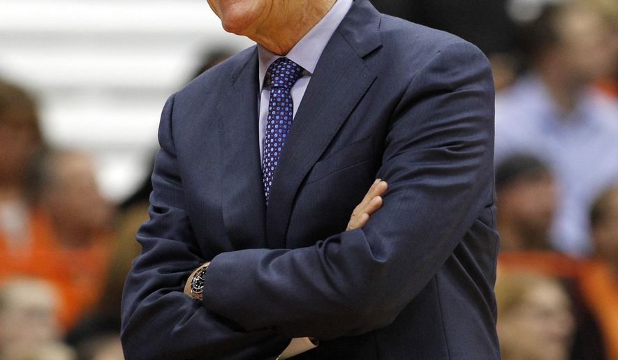 Syracuse head coach Jim Boeheim reacts in the second half of an NCAA college basketball exhibition game against Le Moyne in Syracuse, N.Y., Monday, Nov. 2, 2015. (AP Photo/Nick Lisi)