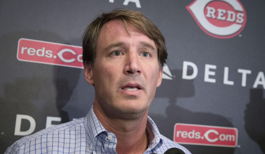 """Cincinnati Reds general manager Dick Williams speaks to the media at Great American Ballpark, Wednesday, Nov. 4, 2015, in Cincinnati. The Reds promoted Williams to general manager on Wednesday as part of a """"succession plan"""" for 64-year-old Walt Jocketty, who will stay on as director of baseball operations for now. (AP Photo/John Minchillo)"""