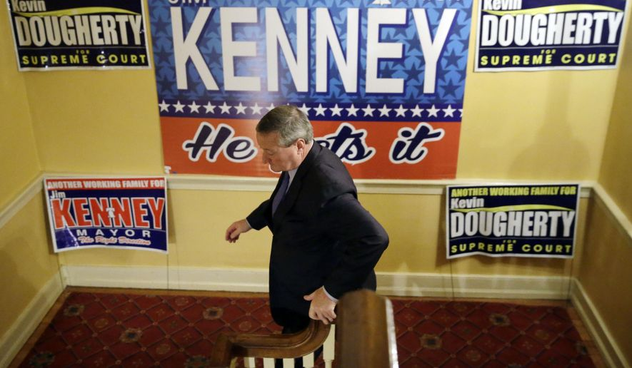 Democratic mayoral candidate and former City Councilman Jim Kenney leaves a rally on election day, Tuesday, Nov. 3, 2015, in Philadelphia.  Kenney is seeking to succeed Michael Nutter, who was limited to two four-year terms. (AP Photo/Matt Rourke)