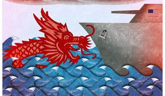 Illustration about the need for U.S. strength in the face of Chinese aggression in the South China Sea by Alexander Hunter/The Washington Times