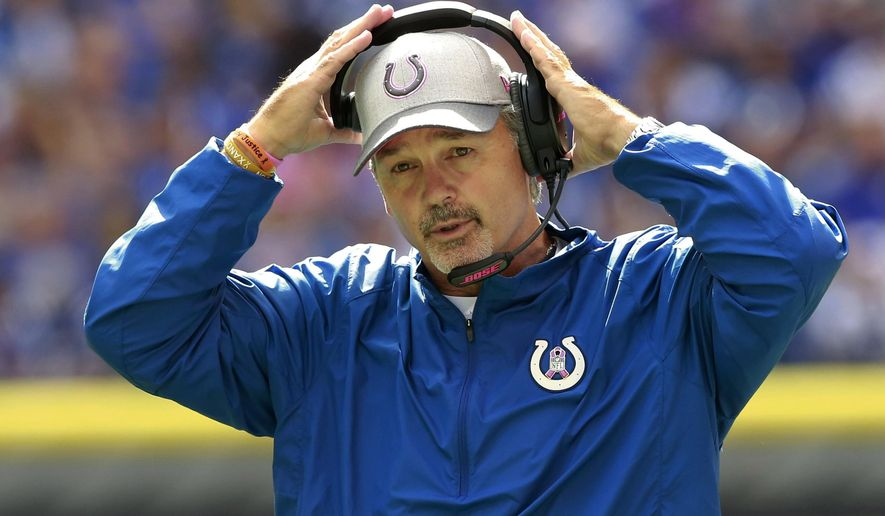 FILE - In this Oct. 4, 2015, file photo, Indianapolis Colts head coach Chuck Pagano watches the first half of an NFL football game against the Jacksonville Jaguars, in Indianapolis. With 21 teams not owning winning records through eight weeks, it's no wonder coaches from coast to coast are on the firing line. (AP Photo/R Brent Smith, File)