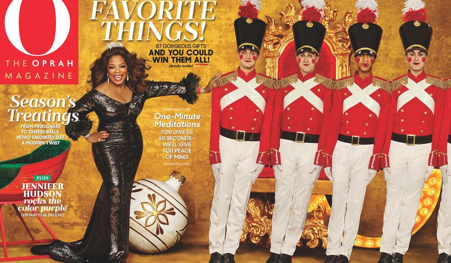 "This image released by Hearst Publications shows ""O, The Oprah Magazine,"" December 2015 issue featuring Oprah's favorite things. The list was revealed Thursday, Nov. 5, 2015  on ABC's ""Good Morning America."" Before she gave up her talk show, Oprah revealed her picks on TV and in print. Now, the December issue of the magazine carries on the holiday tradition she established more than 20 years ago. (Hearst Publications via AP)"