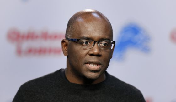 In this March 11, 2015, file photo, Detroit Lions general manager Martin Mayhew speaks in Allen Park, Mich. The Detroit Lions fired president Tom Lewand and Mayhew, Thursday, Nov. 5, 2015. (AP Photo/Paul Sancya) ** FILE **