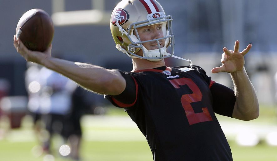 San Francisco 49ers quarterback Blaine Gabbert (2) passes during an NFL football practice in Santa Clara, Calif., Wednesday, Nov. 4, 2015. Head coach Jim Tomsula announced that the 49ers have officially made the change at quarterback from Colin Kaepernick to Gabbert. (AP Photo/Jeff Chiu)