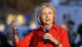 Democratic presidential candidate Hillary Rodham Clinton speaks in Coralville, Iowa, in this Nov. 3, 2015, file photo. (AP Photo/Charlie Neibergall, File)