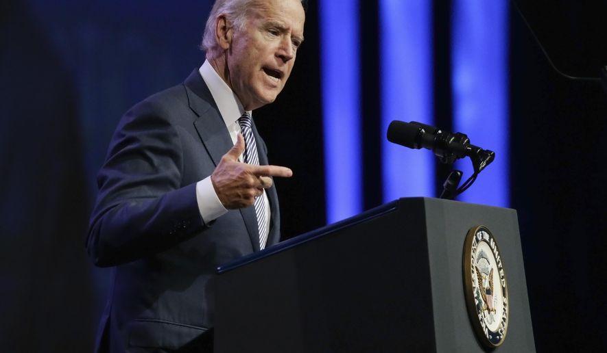 Vice President Joe Biden speaks at the National League of Cities annual convention, Thursday, Nov. 5, 2015, in Nashville, Tenn. (AP Photo/Mark Humphrey)