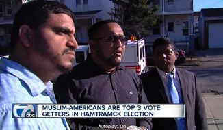 A diverse Detroit enclave known for its Polish heritage elected three Muslim-Americans to its city council Tuesday night, reportedly making it the first Muslim-majority city council in the country. Saad Almasmari, left, received the most votes of the six candidates on the ballot, while incumbents Abu Musa, right, and Anam Miah, center, were re-elected. (WXYZ)