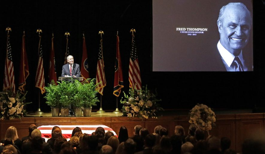 Sen. Lamar Alexander, R-Tenn., speaks during a memorial service for Fred Thompson, a former United States senator, actor and Republican presidential candidate, Friday, Nov. 6, 2015, in Nashville, Tenn. Thompson died Nov. 1 in Nashville. He was 73. (AP Photo/Mark Humphrey)
