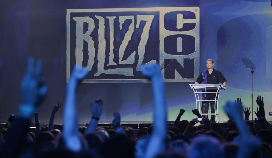 Mike Morhaime, president and co-founder of Blizzard Entertainment, delivers opening remarks during the opening ceremony of BlizzCon, Friday, Nov. 6, 2015, in Anaheim, Calif. (AP Photo/Jae C. Hong)