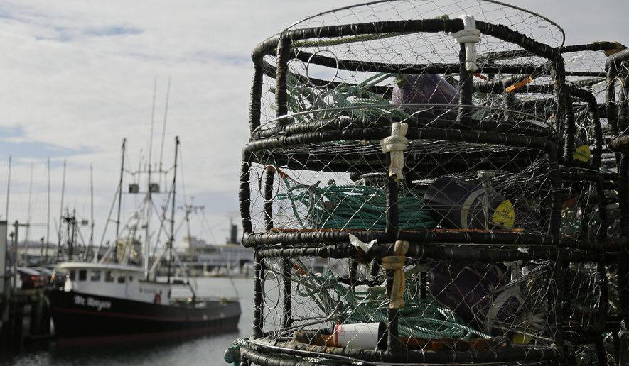 Crab pots are stacked along a pier at Fisherman's Wharf, Thursday, Nov. 5, 2015, in San Francisco. Wildlife authorities delayed the Dungeness crab season and closed the rock crab fishery for most of California on Thursday, just days after warning of dangerous levels of a neurotoxin linked to a massive algae bloom off the coast. (AP Photo/Eric Risberg)