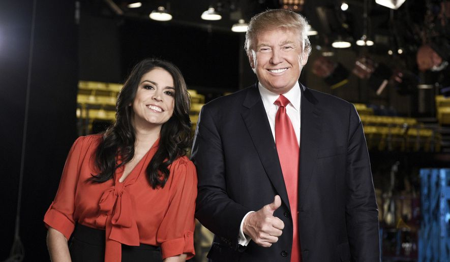 "This Nov. 3, 2015 photo provided by NBC shows, ""Saturday Night Live"" cast member Cecily Strong, left, and Republican presidential candidate Donald Trump in New York. Trump will host the show on Nov. 7.  (Dana Edelson/NBC via AP)"