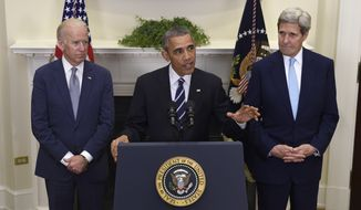 President Obama, accompanied by Vice President Joe Biden and Secretary of State John Kerry, announce he's rejecting the Keystone XL pipeline because he does not believe it serves the national interest during a press conference in the Roosevelt Room of the White House in Washington on Nov. 6, 2015. (Associated Press)