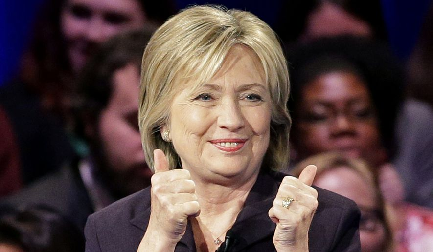 Democratic presidential candidate Hillary Rodham Clinton gestures to the crowd during a Democratic presidential candidate forum at Winthrop University in Rock Hill, S.C., on Nov. 6, 2015. (Associated Press)