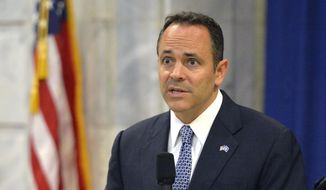 Kentucky Gov.-elect Matt Bevin answers a question during a press conference in the Kentucky State Capitol Rotunda, Friday, Nov. 6, 2015, in Frankfort, Ky. (AP Photo/Timothy D. Easley)