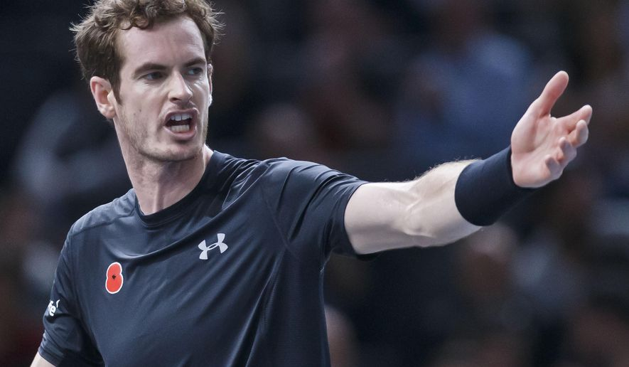 Britain's Andy Murray reacts after losing a point against France's Richard Gasquet during their quarterfinal match of the BNP Masters tennis tournament at the Paris Bercy Arena, in Paris, France, Friday, Nov. 6, 2015. Murray won 7-6, 3-6, 6-3. (AP Photo/Michel Euler)