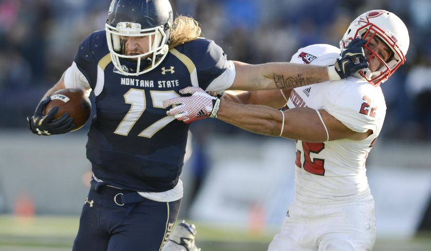 Montana State running back Chad Newell fends off a tackle from Southern Utah defensive back Kyle Hannemann during the first half of an NCAA college football game on Saturday, Nov. 7, 2015, in Bozeman, Mont. (Adrian Sanchez-Gonzalez/Bozeman Daily Chronicle via AP)