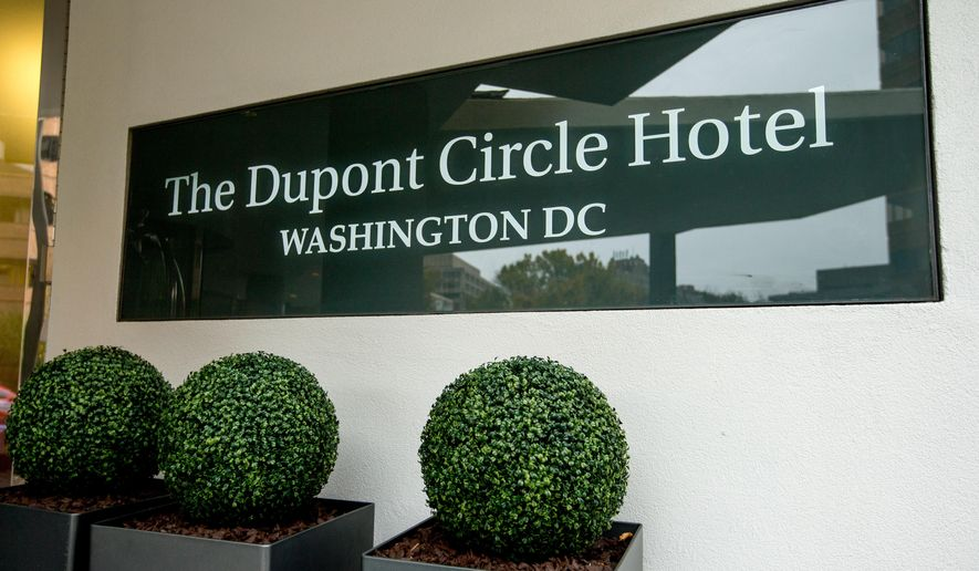 The Dupont Circle Hotel in Washington, Saturday, Nov. 7, 2015. Mikhail Lesin, a former aide to Russian President Vladimir Putin who helped found the English-language news service Russia Today, was found dead in the upscale Washington hotel room, Russian authorities said. He was 57. (AP Photo/Andrew Harnik)