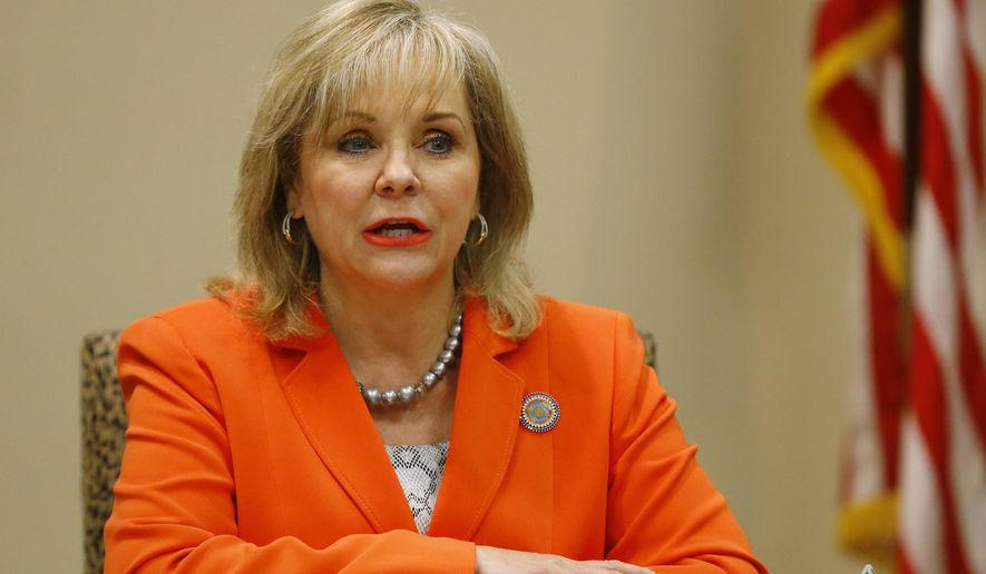 In this Tuesday, Aug. 4, 2015 file photo, Oklahoma Gov. Mary Fallin talks with the media in Oklahoma City. Oklahoma prisons director Robert Patton's tenure at the Department of Corrections has been marred by problems with three scheduled executions and now a multi county grand jury into those complications. Fallin has said she wants to wait and see what's uncovered by Attorney General Scott Pruitt's investigation before publicly endorsing Patton. (AP Photo/Sue Ogrocki, File)