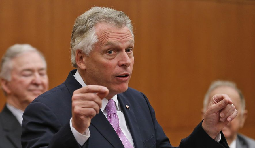 Virginia Gov. Terry McAuliffe speaks during a news conference at the Capitol in Richmond, Va., in this July 13, 2015, file photo. (AP Photo/Steve Helber, File)