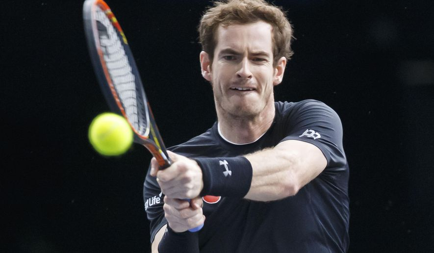 Britain's Andy Murray returns the ball to Spain's David Ferrer during their semifinal match of the BNP Masters tennis tournament at the Paris Bercy Arena, in Paris, France, Saturday, Nov. 7, 2015. (AP Photo/Michel Euler)