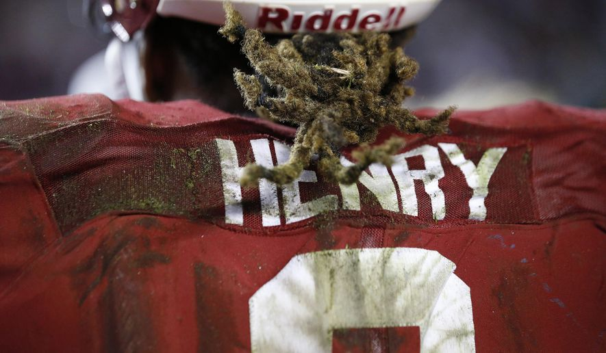 Alabama running back Derrick Henry (2) leaves the field after the second half of an NCAA college football game against LSU, Saturday, Nov. 7, 2015, in Tuscaloosa , Ala. Alabama won 30-16. (AP Photo/John Bazemore)