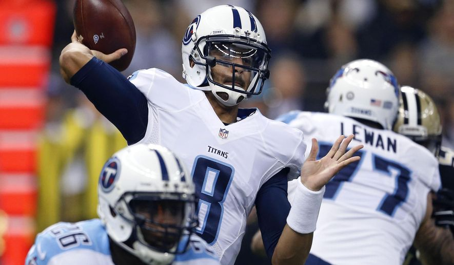 Tennessee Titans quarterback Marcus Mariota (8) passes in the first half of an NFL football game against the New Orleans Saints in New Orleans, Sunday, Nov. 8, 2015. (AP Photo/Butch Dill)