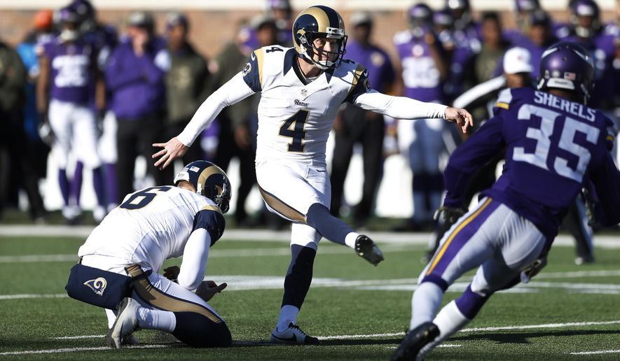 St. Louis Rams kicker Greg Zuerlein (4) kicks a field goal during the first half of an NFL football game against the Minnesota Vikings, Sunday, Nov. 8, 2015, in Minneapolis. (AP Photo/Jim Mone)