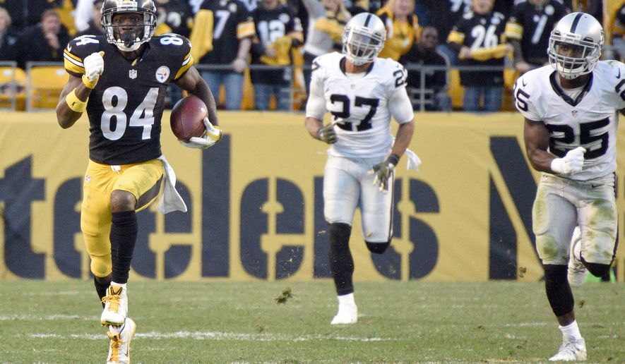 Pittsburgh Steelers wide receiver Antonio Brown (84) runs past Oakland Raiders strong safety Taylor Mays (27) and cornerback D.J. Hayden (25) after making a catch to help set up the Steelers game-winning field goal in the second half of an NFL football game Sunday, Nov. 8, 2015, in Pittsburgh. (AP Photo/Don Wright)