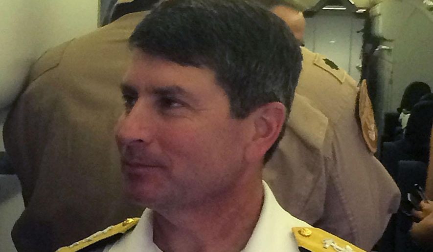 The commander of the U.S. 5th Fleet, Vice Admiral Kevin M. Donegan talks to the Associated Press during the opening day of the Dubai Airshow in Dubai, United Arab Emirates, Sunday, Nov. 8, 2015. (AP Photo/Adam Schreck)